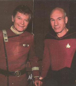Deforest Kelly and Sir Patrick Stewart