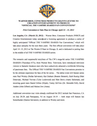 Warner Bros. Press Release